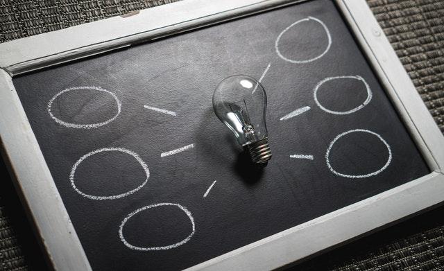 nápad, myšlenka, žárovka